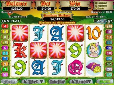Miami Bingo featuring the Video Slots Prince of Sherwood with a maximum payout of $250,000
