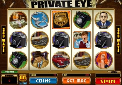 Bonanza featuring the Video Slots Private Eye with a maximum payout of $25,000