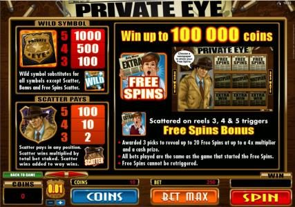 Casino Classic featuring the Video Slots Private Eye with a maximum payout of $25,000