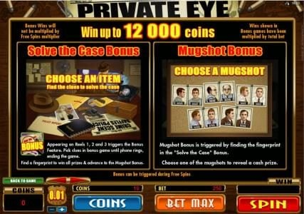 All British featuring the Video Slots Private Eye with a maximum payout of $25,000