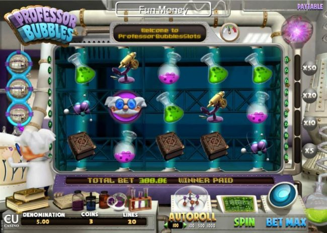 Play slots at Win 7: Win 7 featuring the Video Slots Professor Bubbles with a maximum payout of $90,000