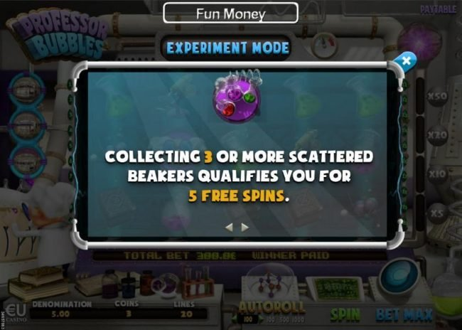 Collecting three or more scattered beakers qualifies you for 5 free spins.