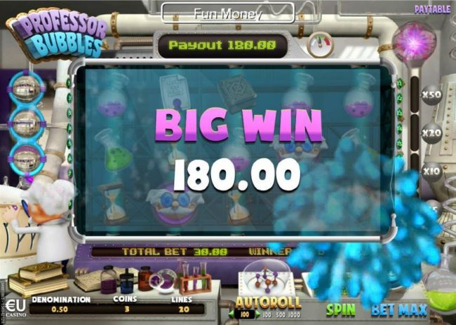 A 180.00 big win triggered by a pair of wild symbols.