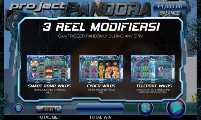 Zet Casino featuring the Video Slots Project Pandora with a maximum payout of $20,000