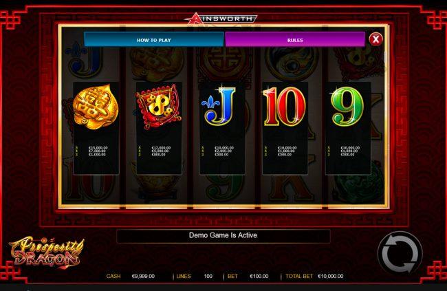 Prosperity Dragon :: Low Value Symbols