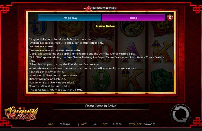 Prosperity Dragon :: General Game Rules