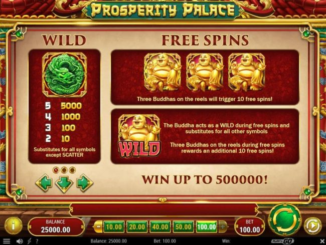 Play slots at Wild Jackpots: Wild Jackpots featuring the Video Slots Prosperity Palace with a maximum payout of $500,000