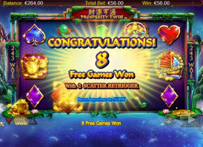 Northern Lights featuring the Video Slots Prosperity Twin with a maximum payout of $100,000