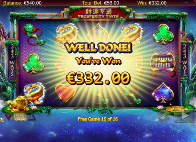 Total free spins payout 332.00