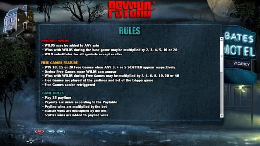 Psycho Wilds rules. Free Game Feature Rules