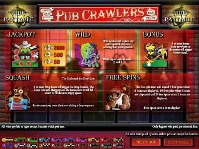 Play slots at Sports and Casino: Sports and Casino featuring the Video Slots Pub Crawlers with a maximum payout of $5,000