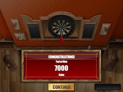 after three dart throwing attempts we earned a 7000 coin big win