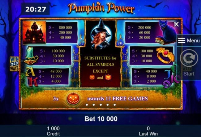 Winner Million featuring the Video Slots Pumpkin Power with a maximum payout of $5,000,000