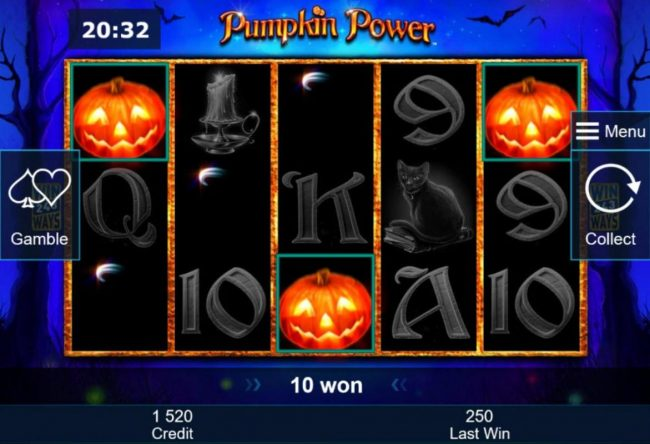 Quasar featuring the Video Slots Pumpkin Power with a maximum payout of $5,000,000