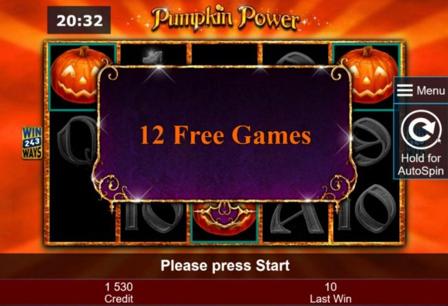 Energy featuring the Video Slots Pumpkin Power with a maximum payout of $5,000,000