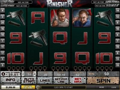 Play slots at AdamEve: AdamEve featuring the Video Slots Punisher - War Zone with a maximum payout of $500,000