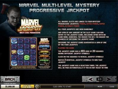 Multi-Level Mystery Progressive Jackop Game Rules