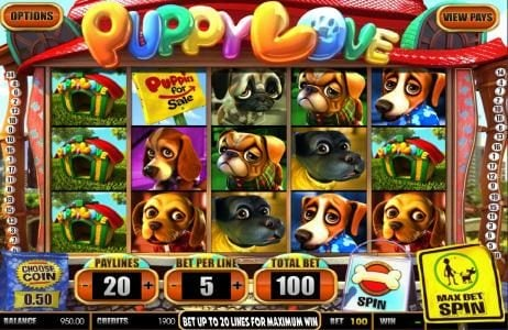 Play slots at Wizbet: Wizbet featuring the Video Slots Puppy Love with a maximum payout of $25,000