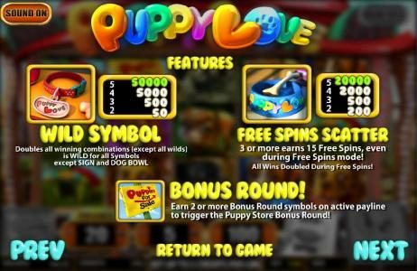 Gossip Slots featuring the Video Slots Puppy Love with a maximum payout of $25,000