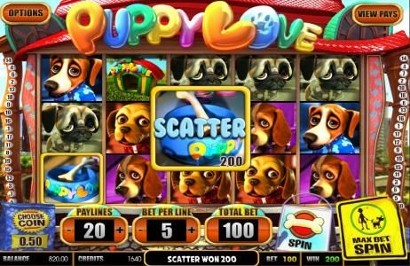 BetOnline featuring the Video Slots Puppy Love with a maximum payout of $25,000