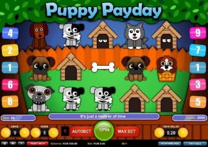 Play slots at Ocean Bets: Ocean Bets featuring the Video Slots Puppy Payday with a maximum payout of $3,750