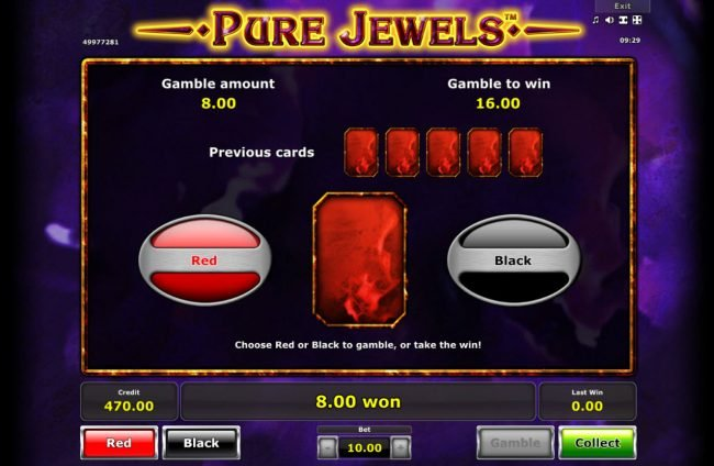 Pure Jewels :: Red or Black Gamble feature