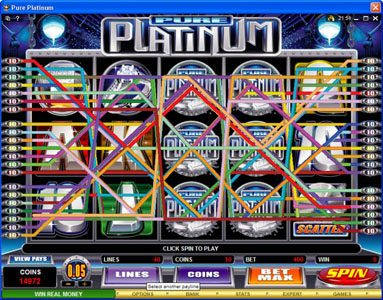 Kerching featuring the Video Slots Pure Platinum with a maximum payout of $50,000