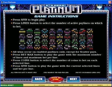 Nostalgia Casino featuring the Video Slots Pure Platinum with a maximum payout of $50,000