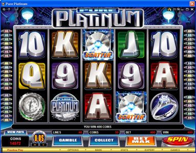 HippoZino featuring the Video Slots Pure Platinum with a maximum payout of $50,000