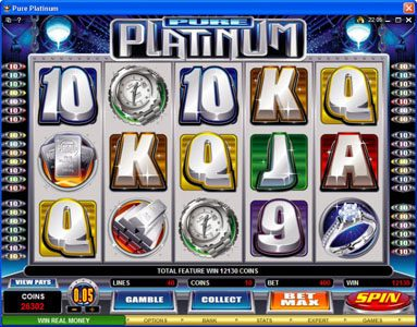 Casino Mate featuring the Video Slots Pure Platinum with a maximum payout of $50,000