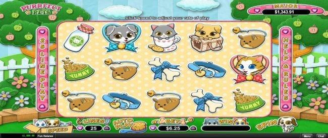 Play slots at Fair Go: Fair Go featuring the Video Slots Purrfect Pets with a maximum payout of $12,500