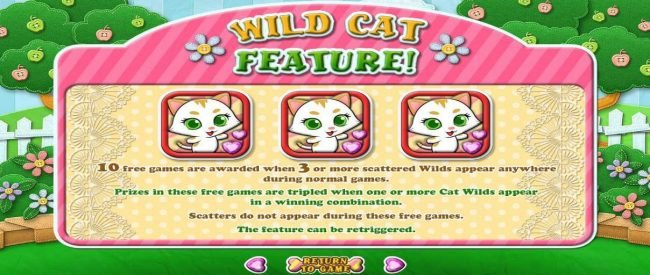 Mega 7's featuring the Video Slots Purrfect Pets with a maximum payout of $12,500