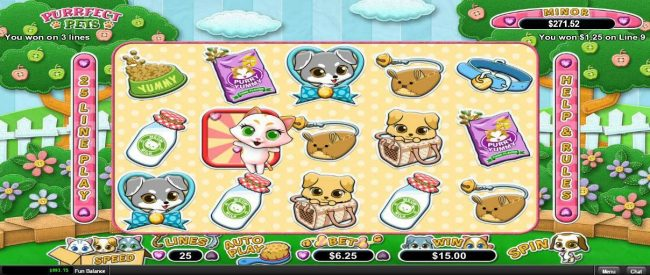 Slots of Vegas featuring the Video Slots Purrfect Pets with a maximum payout of $12,500