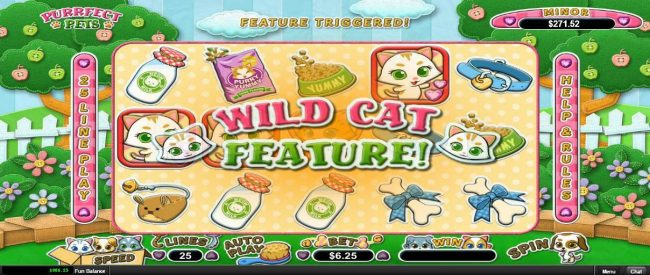 Slots.com featuring the Video Slots Purrfect Pets with a maximum payout of $12,500