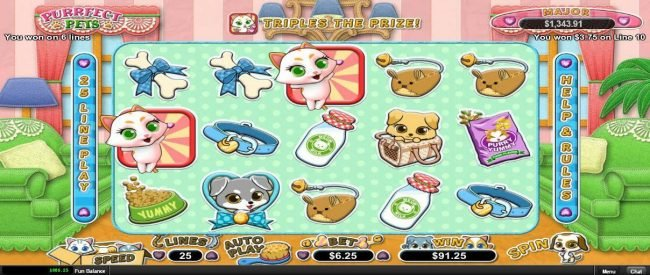 99 Slot Machines featuring the Video Slots Purrfect Pets with a maximum payout of $12,500