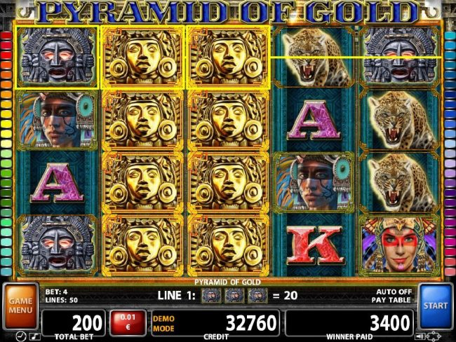 21 Nova featuring the Video Slots Pyramid of Gold with a maximum payout of $10,000
