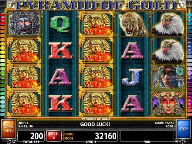Powerspins featuring the Video Slots Pyramid of Gold with a maximum payout of $10,000