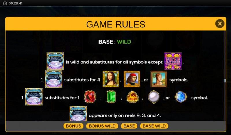 Quadruple Da Vinci Diamonds :: Wild Symbol Rules