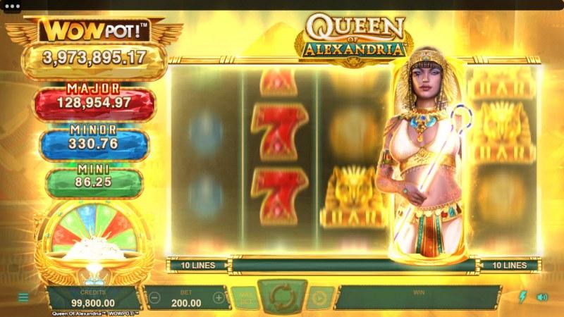 Queen of Alexandria Wow Pot :: Wild symbol triggers a respin