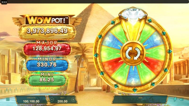 Queen of Alexandria Wow Pot :: Jackpot Wheel activates randomly after diamonds land on the reels