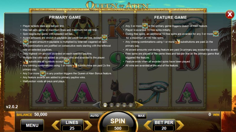 Queen of Aten :: Feature Rules