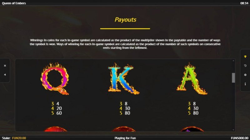 Queen of Embers :: Paytable - Medium Value Symbols