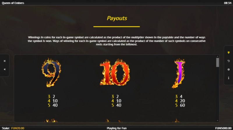Queen of Embers :: Paytable - Low Value Symbols