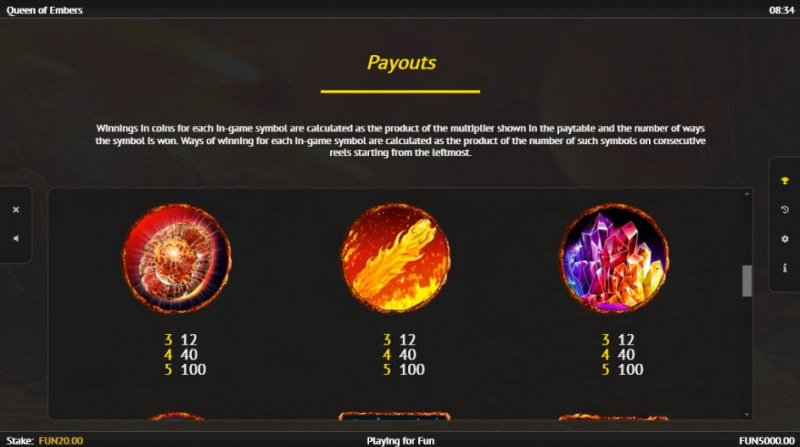 Queen of Embers :: Paytable - High Value Symbols