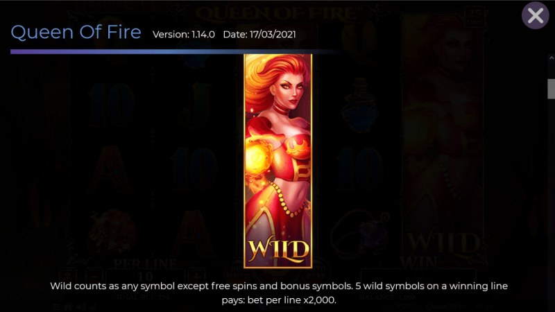 Queen of Fire :: Wild Symbol Rules