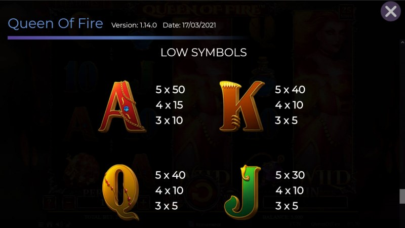 Queen of Fire :: Paytable - Low Value Symbols