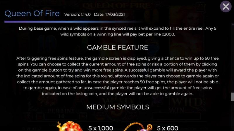 Queen of Fire :: Gamble feature