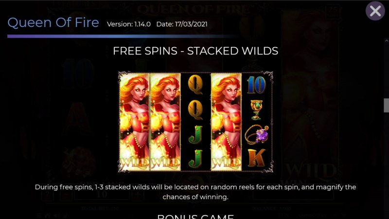 Queen of Fire :: Free Spin Feature Rules