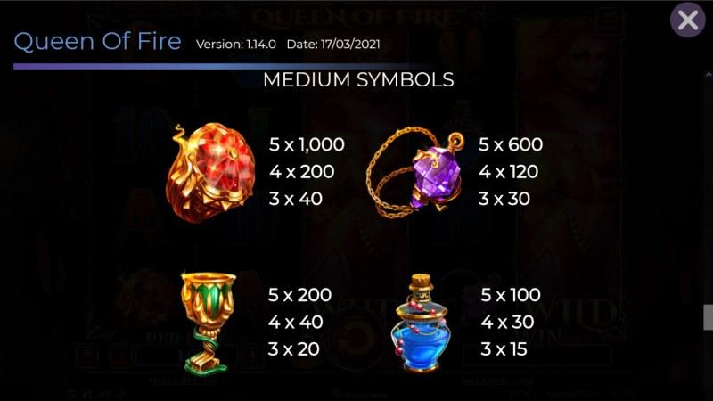 Queen of Fire :: Paytable - Medium Value Symbols