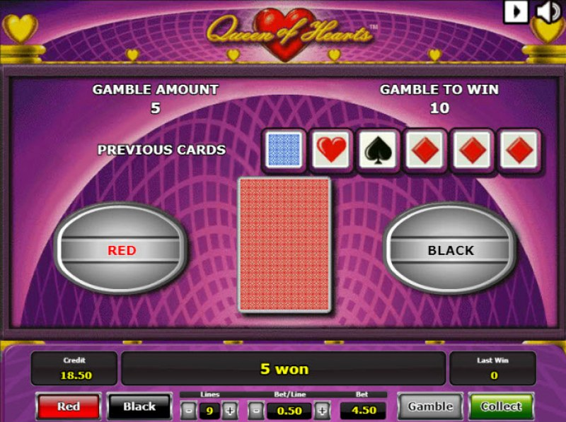 Queen of Hearts :: Red or Black Gamble Feature